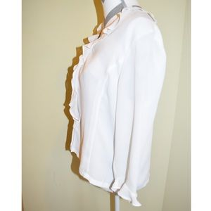 Button down ruffled white blouse